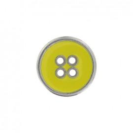 Bouton métal émaillé jaune