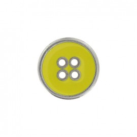 Metal button, enamelled - yellow