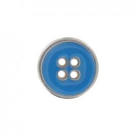 Bouton métal émaillé bleu clair
