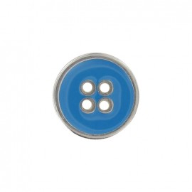 Metal button, enamelled - light blue