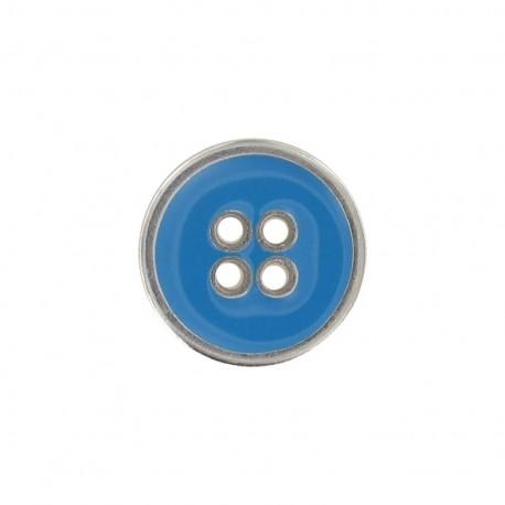 Bouton métal émaillé turquoise