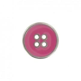 Bouton métal émaillé rose