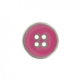 Metal button, enamelled - pink