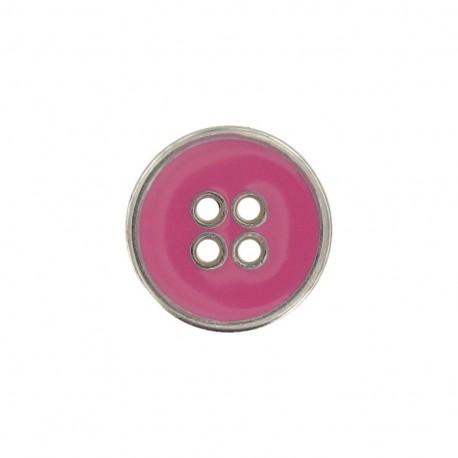 Metal button, enamelled - pink