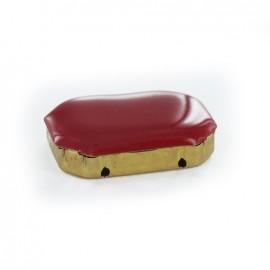 Enameled Sew-on rhinestone x 1- carmine red/golden