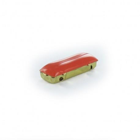 Enameled Sew-on rectangular-shaped rhinestone x 1- orange/golden