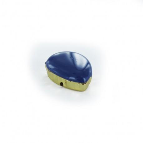 Enameled Sew-on tear-shaped rhinestone x 1- navy blue/golden