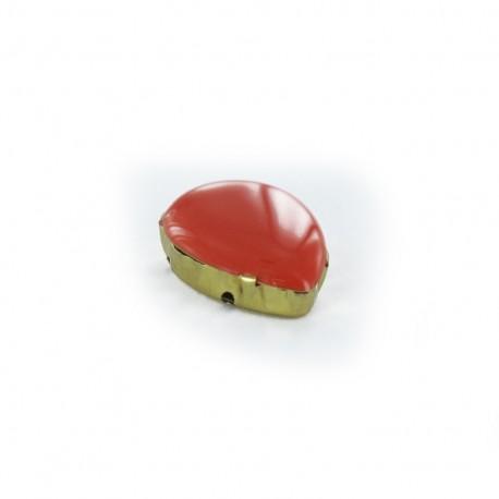 Enameled Sew-on tear-shaped rhinestone x 1- orange/golden