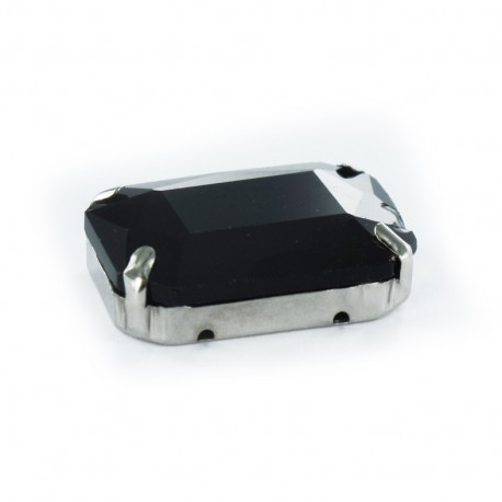 Sew-on rectangular-shaped rhinestone x 1- black/silver