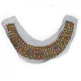 Beads decoration for collars iron-on applique - multicolored
