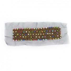 Rectangular-shaped Beads decoration for collars iron-on applique - multicolored
