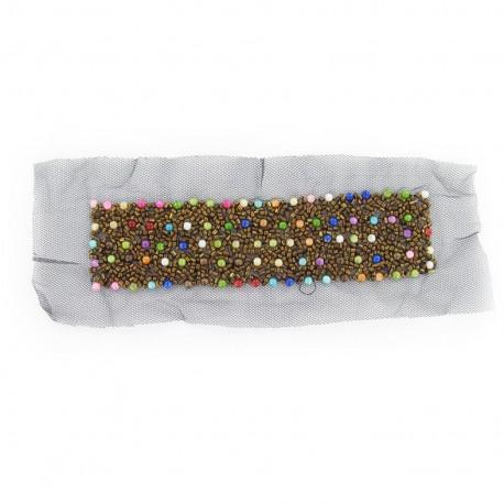Garniture rectangulaire col perles