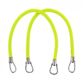 Imitation leather braided bag-handles - fluorescent yellow