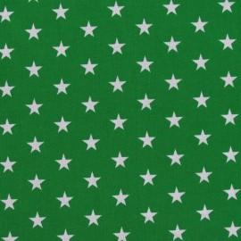 Tissu Etoiles blanc/vert prairie x 10cm