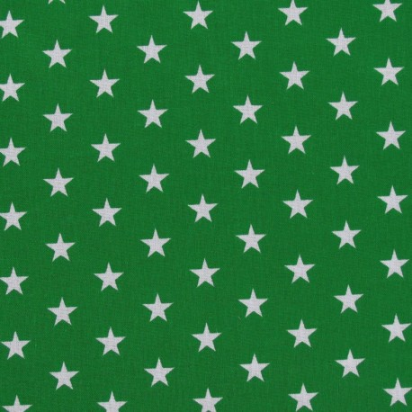 Stars Fabric - White / Meadow Green x 10cm