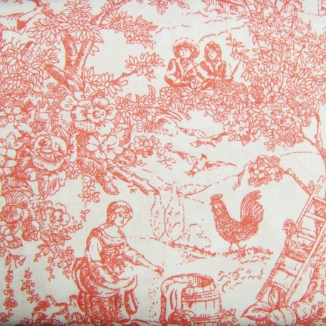 tissu toile de jouy rose x 10cm ma petite mercerie. Black Bedroom Furniture Sets. Home Design Ideas