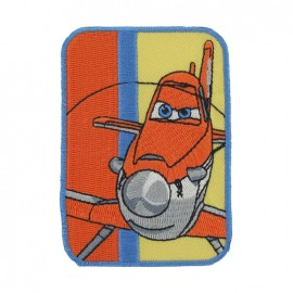"Embroidered ""Planes"" Dusty A iron-on applique - orange"