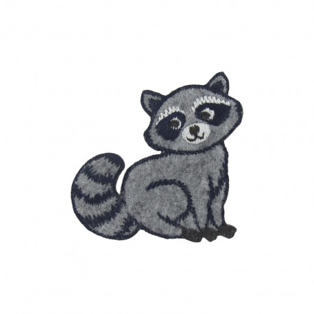 Comic Raccoon iron-on applique - grey