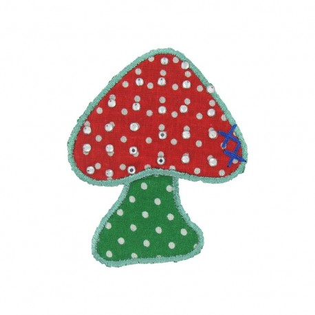 Spangled mushrooms iron-on applique - multicolored