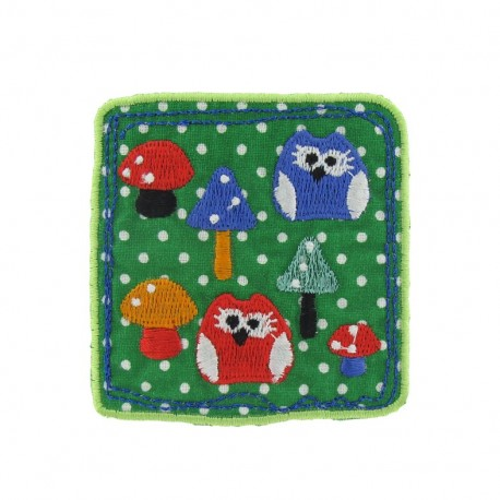 Owl and mushrooms iron-on applique - multicolored