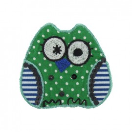 Spangled Owl iron-on applique - multicolored