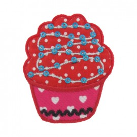 Spangled Cupcake C iron-on applique - red/pink