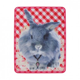 Rabbit polyester canvas iron-on applique - gingham multicolored