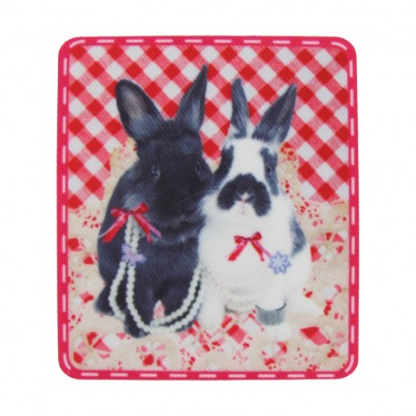 Rabbit duo polyester canvas iron-on applique - gingham multicolored