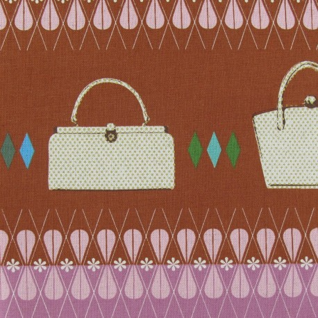 Mélody Miller Ruby star polka dot/bags fabric - old pink/red x 30cm