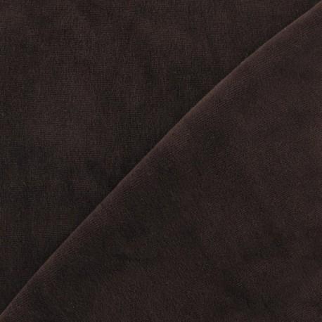Tissu velours éponge jersey marron x 10cm