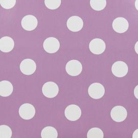 Tissu toile cirée Smarties blanc fond lilas x 10cm