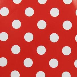 Tissu toile cirée Smarties blanc fond tomate x 10cm