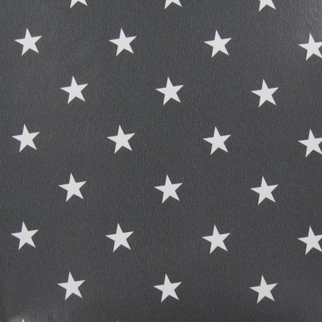 Oilcloth Fabric - Stars White / Anthracite background x 10cm