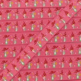Single-sided Woven Ribbon, Amanita Mushroom - pink