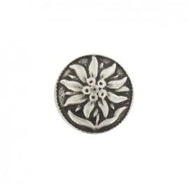 Bouton métal fleur des îles argenté