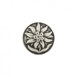Metal button, Island flower - silver