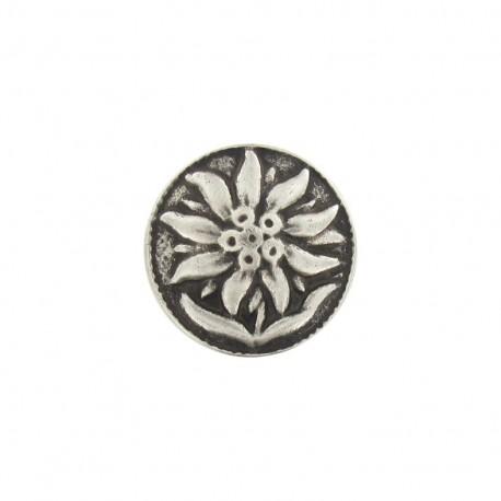 Bouton métal fleur soleil argenté