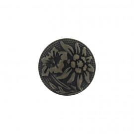 Bouton métal fleur éxotique bronze