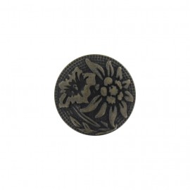 Metal button, Tropical flower - bronze