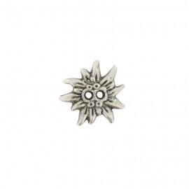 Bouton métal fleur soleil argent