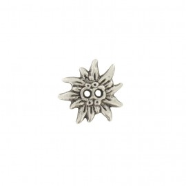 Metal button, flower, sun - silver