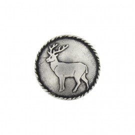 Metal button, rounded, deer - silver
