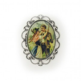 Oval-shaped vintage Cabochon - green