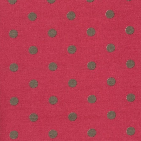 Fabric coton Big Dots Cerise Earth x 10cm