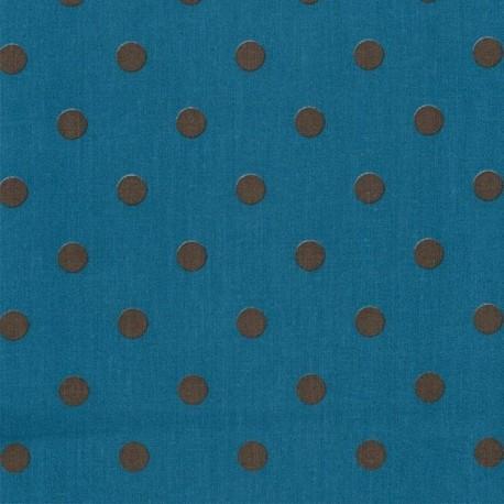 Fabric coton Big Dots Petrol Earth x 10cm