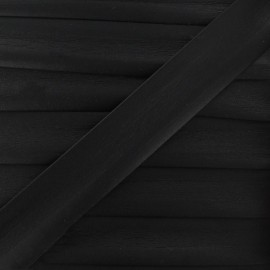 Imitation leather bias binding, 25 mm - black