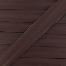 Imitation leather bias binding, 25 mm - chocolate