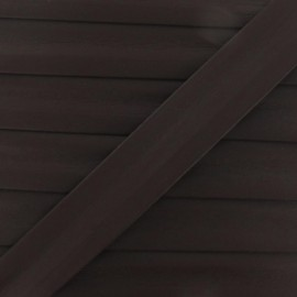 Imitation leather bias binding, 25 mm - brown