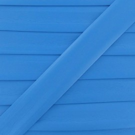 Imitation leather bias binding, 25 mm - azure