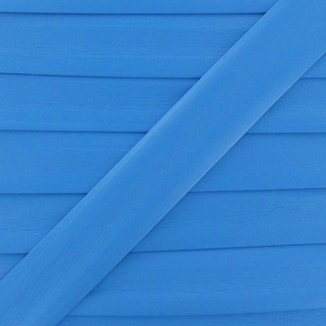 Imitation leather bias binding, 25 mm - azure